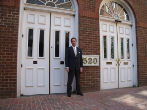Airport injury lawyer Doug Landau at the Alexandria Courthouse where his Virginia workers compensation client also won additional benefits as the result of a crash caused by an airline employee