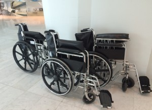 Airline employees and airport contractors should exercise increased care when pushing wheelchair bound passengers through the airport terminals and gates so as to avoid unnecessary injuries.