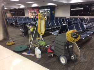 accidents caused by airport cleaning crews when there are no signs, barriers or cones warning travelers wet and slippery floors, can be one even where the accident itself is not captured on film.
