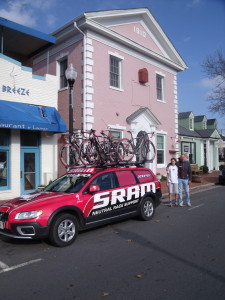 "The ""Pink Bank"" is the home of Herndon's Compu Trainer Bike set up where Susan Hefler trains current and future cycling champions"