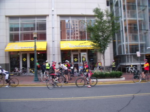 Riders getting ready to take a Saturday morning spin from the Bike Lane at Reston Town Center