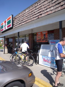 "The infamous Lovettsville 7-11, where bikers were ticketed by Loudoun County Law Enforcement for not putting BOTH feet down to stop at the ""Squircle"" during the MS charity ride"