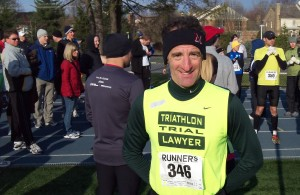 Doug Landau, of the Herndon law firm ABRAMS LANDAU, Ltd., at the start of the Newton crosss country run during the Multisport World conference in Bethesda, Maryland