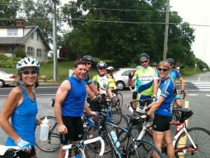 Reston bike riders assemble in the Herndon Town lot prior to a fun ride from Fairfax County to Loudoun County