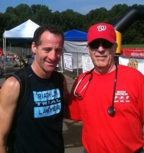 Reston Doctor Dennis Sager, an Internal Medicine specialist and FAA Examiner, once again was a volunteer at the 28th Reston Triathlon at South Lakes High School
