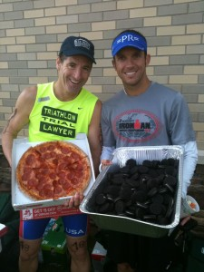 "Plenty of post-race treats for Herndon Sport & Health ""World Gators"" Aaron Church (3rd overall) & Doug Landau (1st place over 50) at the Virginia Triathlon Series Warrenton Sprint race"