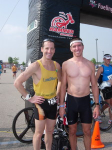 """Northern Virginia trial lawyer & triathlete Doug Landau and National Road Running League director & """"DC Running Coach"""" Mike Hamberger at the USAT Duathlon National Championships"""
