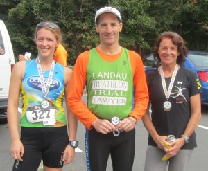 Bishops events prize winners from the DUathlon in Pohick Park Virginia to support the Leukemia & Lymphoma Society include (R-L): womens masters and overall winner Brenda Allen, of Charlottesville, Virginia, who also has the most points, male or female, in the Bishops Events Multisports Series; 3rd place male and first place male in the Multisport Series Doug Landau of the Herndon law firm ABRAMS LANDAU; and, Eve Baker, of Triangle Virginia female runner up, of Baker Editing Services