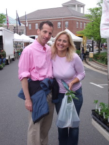 Past winners of the Herndon Taylor Love Sprint Triathlon, Lisa Goldman & Doug Landau are seen here at the weekly Town of Herndon Farmers Market