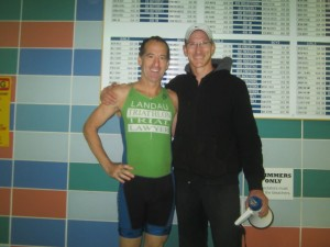 Taylor Love Triathlon Race Director and TriPerformance Coach Brian Crow and runner-up Doug Landau before the start of this morning's race at the Herndon Virginia Community Center. In real life, Coach Crow is much taller than lawyer Landau !