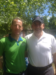 At Saturday's Reston Sprint Triathlon packet pick up volunteers Tom Fleeter, of TOWN CENTER ORTHOPEDICS & Doug Landau of ABRAMS LANDAU, Ltd., had a chance to catch up before Sunday's race