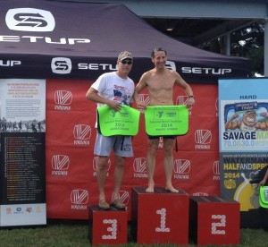 John Lysher & Doug Landau on the podium after the Colonial Beach Sprint Triathlon.  Both Lysher, of Fredericksburg, and Landau have been past Virginia Triathlon Series season Age Group Winners