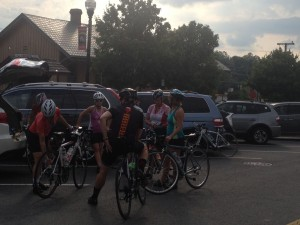 Bikers at Historic District of Herndon & W&OD Trail in Virginia
