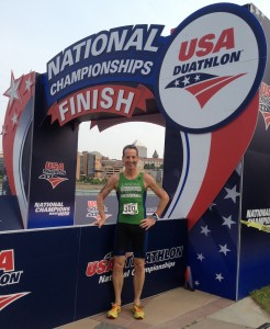At the finish line of the US DUathlon Nationals, Herndon Virginia lawyer Doug Landau was all smiles after his best Run-Bike-Run Championship finish ever.