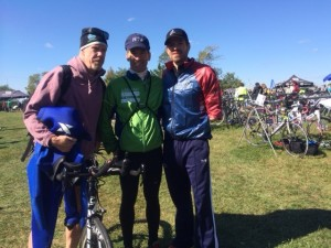 Coach Rob Colburn, Lawyer Landau & Military Triathlete Jose Ramos compare notes after the Watermans Rock Hall, Maryland Sprint Triathlon