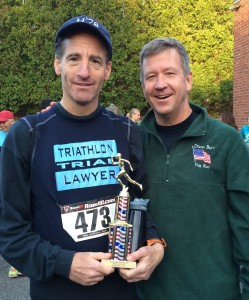 """Wearing his """"Class of '78"""" Hotchkiss School cap, Doug Landau was the best out of state finisher at the Thomaston, CT Veterans Day weekend 5km race"""