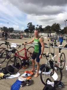"After the ""Race on the Base"" Reverse Triathlon at the Los Alamitos Joint Forces military facility, Doug Landau needed to quickly return his borrowed bike & hop a plane back to Virginia !"