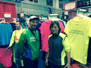 RUseeN's Michelle Gallen shown with VTS & MTS Super Series sponsor Doug Landau at the Washington DC multisport expo.