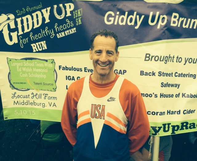 After running the cross country 5km course TWICE, with a stationary bike ride in between, brain injury prevention lawyer Doug Landau was all smiles after the GiddyUpAndGo events in Middleburg Virginia