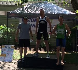 Top Masters Award winners enjoy the shade at the Reston Sprint Triathlon