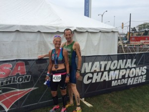 Virginia multisport star Gail Waldman & Herndon's Doug Landau after finishing the USAT Sprint Triathlon National Championship race in Milwaukee. Waldman had also completed the Olympic Distance race the day before !