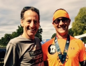Virginia & Maryland Triathlon AG award winner Todd Pederson & Doug Landau compare race strategies after the Patriots Sprint race