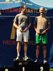 Pennsylvania triathlete Ben Foy & Herndon Virginia lawyer Doug Landau atop the AG winner's podium at the Patriots Sprint Triathlon in Jamestown Virginia