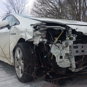 Doug Landau survived this morning's car crash when this Prius slid on ice and went off the road.