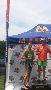 Barely making the podium in Jamestown, Virginia, Doug Landau raced well despite injury at the USAT Mid-Atlantic Olympic Distance Triathlon Championships
