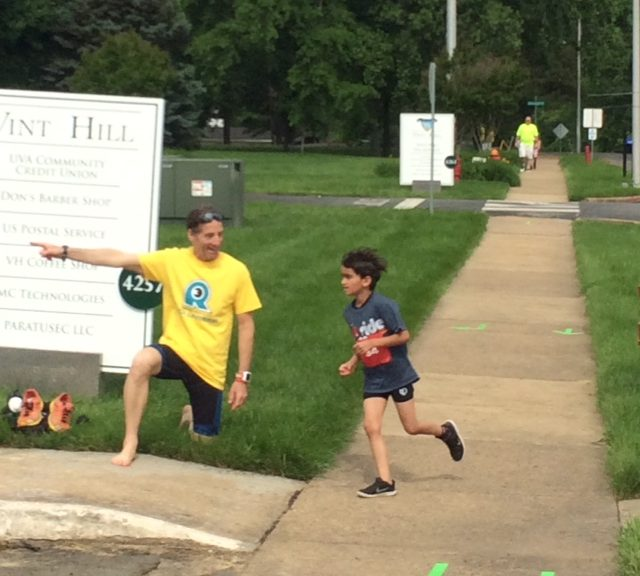 Lawyer Doug Landau took a break from racing in this year's Salute Tri and instead served as a race volunteer.  This event provided lots of fun for both adults and kids alike.