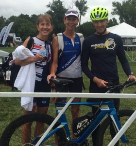 SportFit Lab Coach Beth (center) & Virginia triathletes are all smiles despite foreboding skies at the US National Triathlon Championships race venue