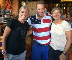 Donna & Karen Smyers flank Doug Landau after the USAT Triathlon National Championships in Omaha, Nebraska last month. The decorated sisters appreciate the importance of rest and recovery after hard races and workouts. Younger sister Karen Smyers has battled thyroid cancer, been struck by an 18-wheeler while training and also won the 1990 and 1995 ITU world championships and the Ironman World Championship. The New England triathlete was inducted into the Triathlon Hall of Fame in 2009.