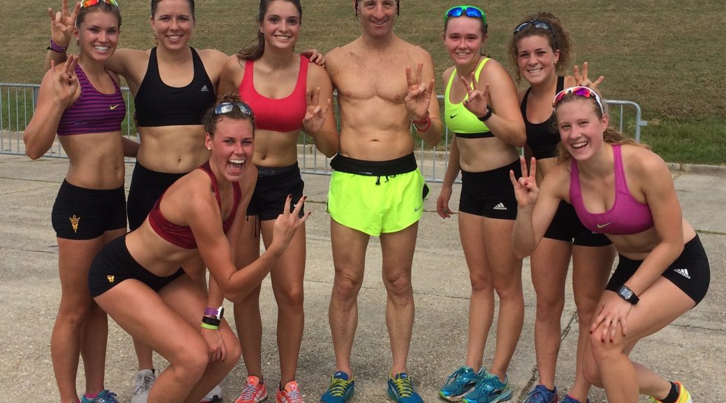 """The fit, well-coached & spirited Arizona State University team was all smiles after their """"scouting run"""" 2 days before the NCAA Championships, despite not being certain of the precise running course!"""