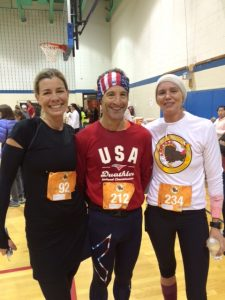 Top Herndon area multisport athletes Lynn Cuppernull & Justine Mayo were all smiles after the Herndon Turkey Trot at the Herndon Virginia Community Center