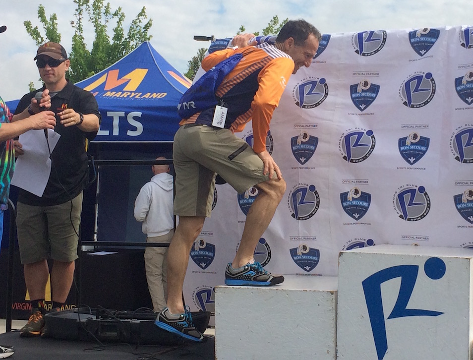 After popping his soleus a half mile into the 5km run at the April Richmond Sprint Triathlon, lawyer Landau hopped the remaining miles & then hobbled onto the podium for his prize. The rest of the season required careful training, therapy, pre-race rest & recovery