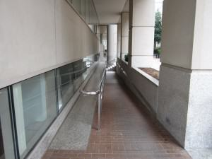 Walking down this ramp to the DC Social Security Hearing Office for her SSDI case, Doug Landau's client came back up victorious