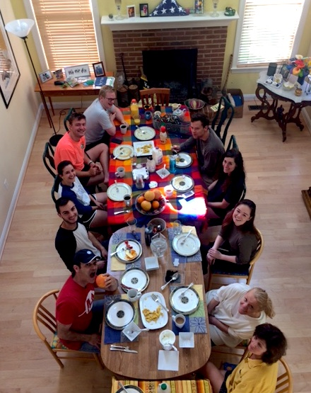 Some of the participants the next morning enjoying breakfast cooked by Doug Landau. There were no casualties!