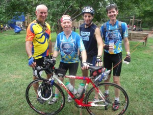 Reston Century bike riders at a rest stop