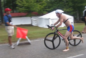 Doug Landau off the bike and headed into the second transition at the US National Sprint Triathlon Championships