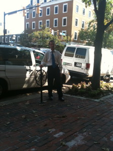Biker AND bicycle safety lawyer Doug Landau and an Old Town Alexandria, Virginia bike lock stand