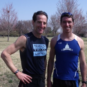 DC Running Coach and National Road Running League founderMike Hamberger, DC and Triathlon Trial Lawyer Doug Landau after a 3km race in the Nation's Capitol