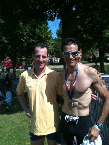 USAT CEO Rob Urbach clobbered his lawyer, friend and teammate Doug Landau on a borrowed bike at the 2011 National Sprint Triathlon Championships in Burlington, Vermont