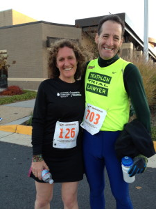 Laurie Corkey and Doug Landau at the Herndon Turkey Trot running race. Laurie also ran the Marine Corps Marathon!