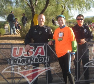 """""""Bouncer"""" Doug Landau with his """"back up"""" at the transition area of the USAT DUathlon National Championships"""