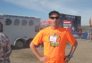 Cooling off at the finish line of the 2013 DUathlon National Championships in Oro Valley, Arizona, after several hours as a race volunteer Doug Landau was able to see the results posted and cheer fellow multi sport athletes from around the country
