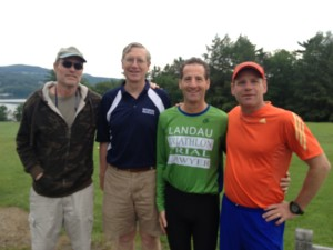 Doug Landau with classmates & friends after crossing the finish line first, barefoot !  The Hotchkiss Reunion Run course is primarily on the school's golf course, so running without shoes was actually an advantage on the supersoaked grass.