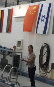 Olympic gold medalist Sheila Taormina giving swim tips at the AU pool