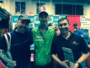 L- R: quite the triathlon triumvirate ! editor-in-chief of Spokes magazine, Neil Sandler, East Coast sports injury lawyer Doug Landau, and Virginia & Maryland Triathlon Super Series director Greg Hawkins. Lawyer Landau has signed on to be a sponsor of the combined DC area triathlon race series again in 2015!