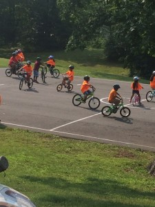 Kids biking on blacktop at Guilford Elementary School