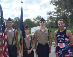 FAU's NAVY ROTC presented the colors at the 6th annual (EMB)race Half Marathon, 5km & Walk